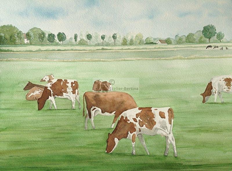 Rood bont koeien aquarel schilderij