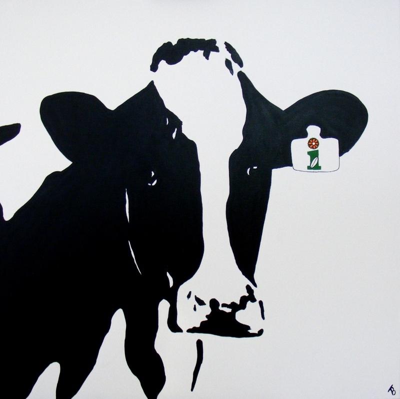 Opdracht: Koe acryl schilderij met logo