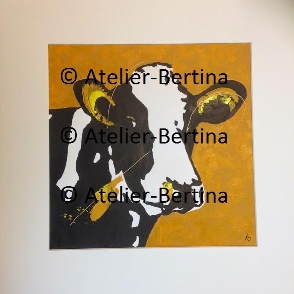 Koe geel acryl schilderij