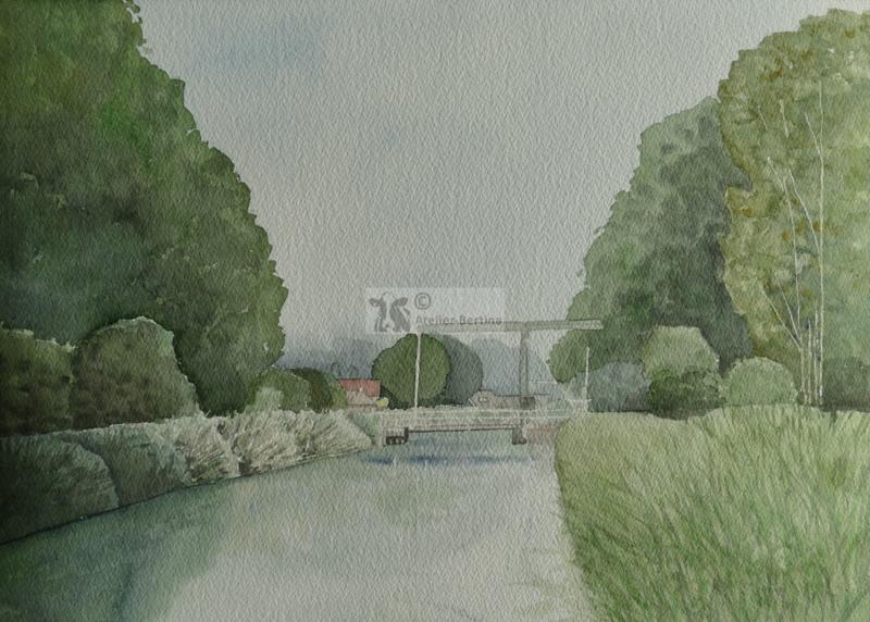 Landschap brug bij Heeten aquarel schilderij