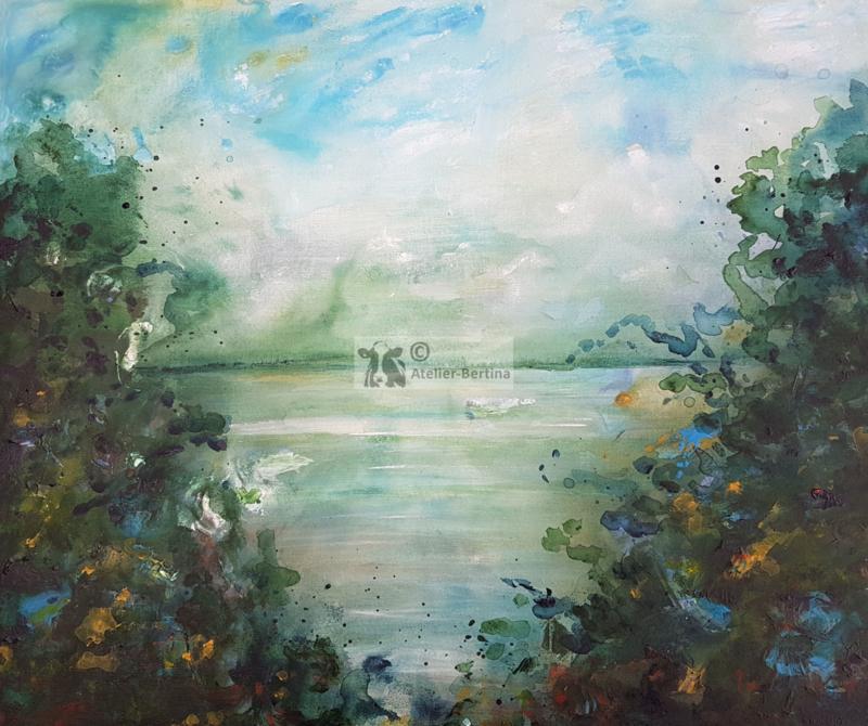 Doorkijkje bloemen aqua-acryl schilderij