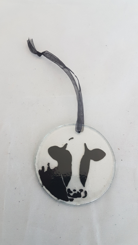glass hanger with a cow