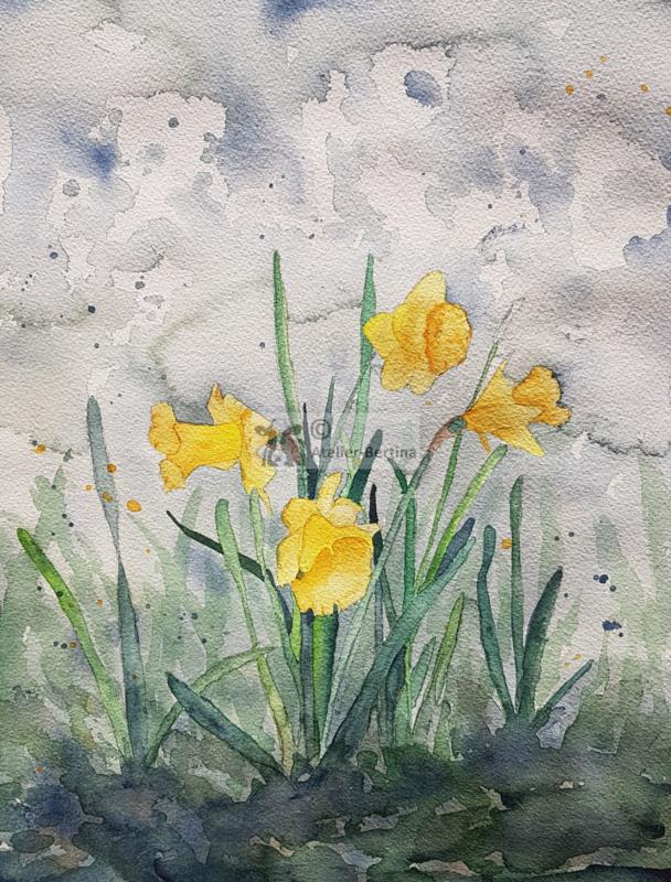 Irissen aquarel schilderij