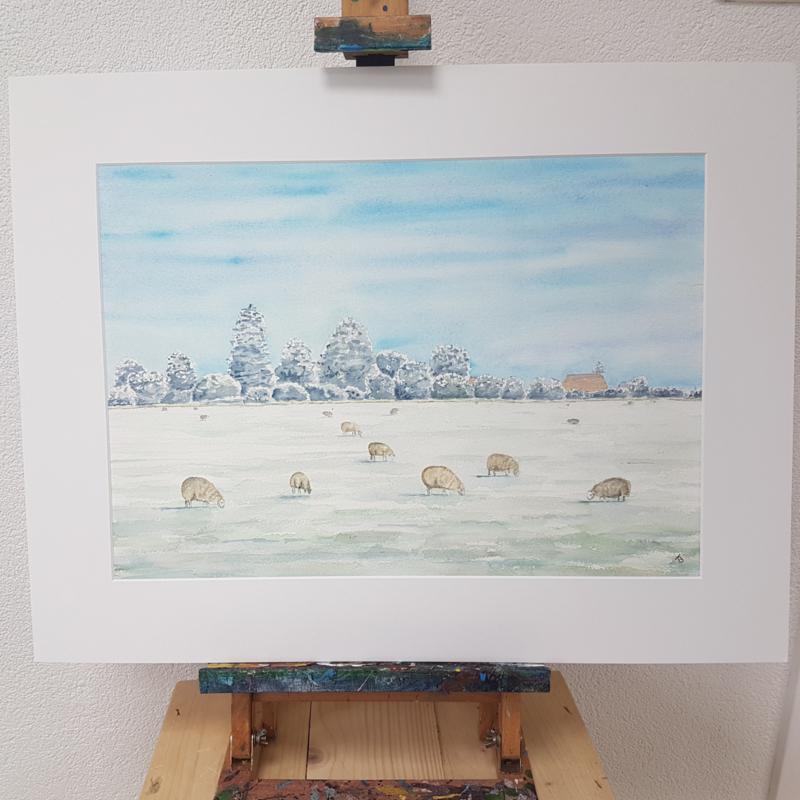 Schaap en lammetjes aquarel schilderij