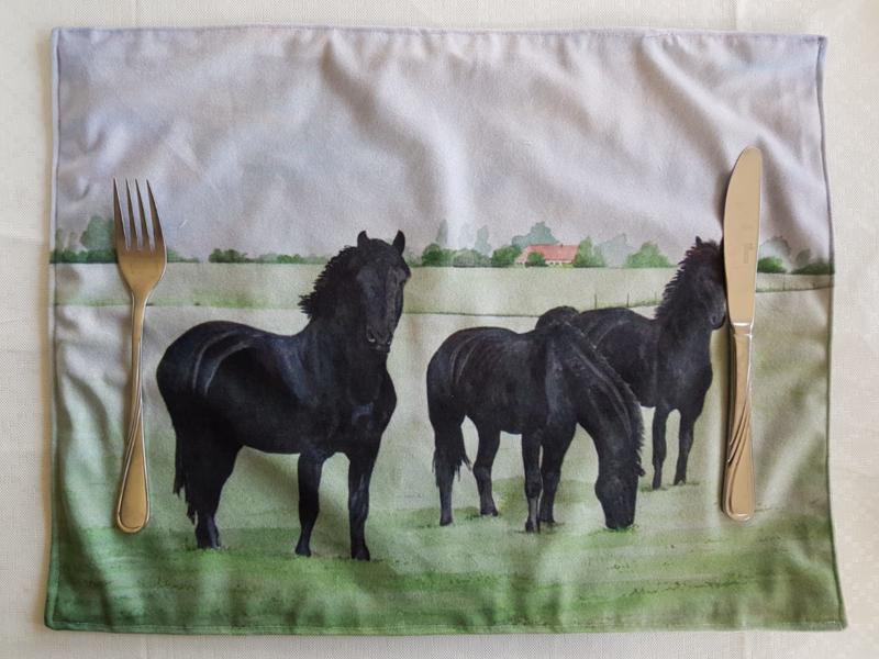 Placemat van stof: paarden