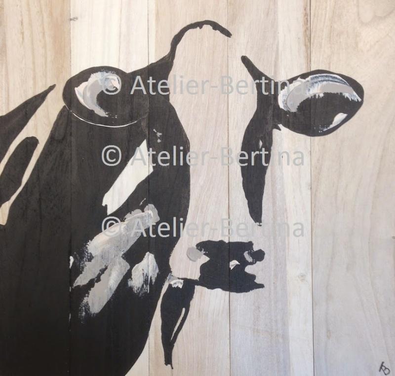 Koe acryl schilderij op hout