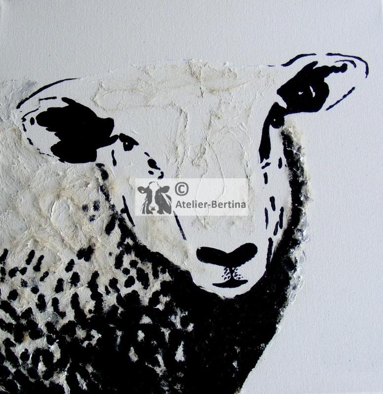 Schafacrylmalerei (met echte schapenwol)