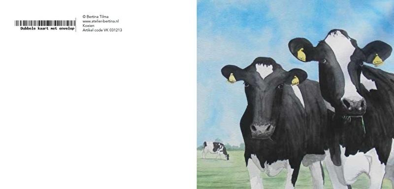 Nieuwsgierige koeien wenskaart