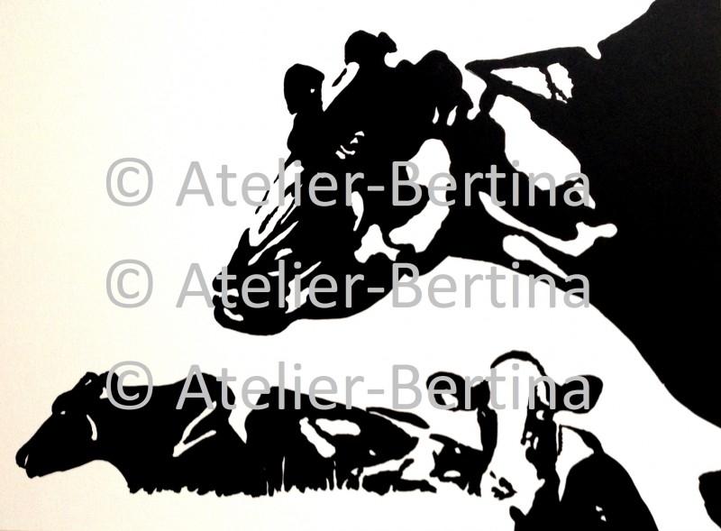 3 grazende koeien