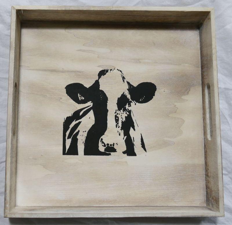 32 x 32 cm dienblad hout met koe