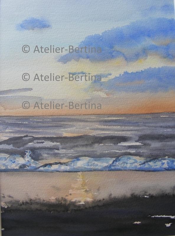 Sonnenuntergangmalerei aqauarel