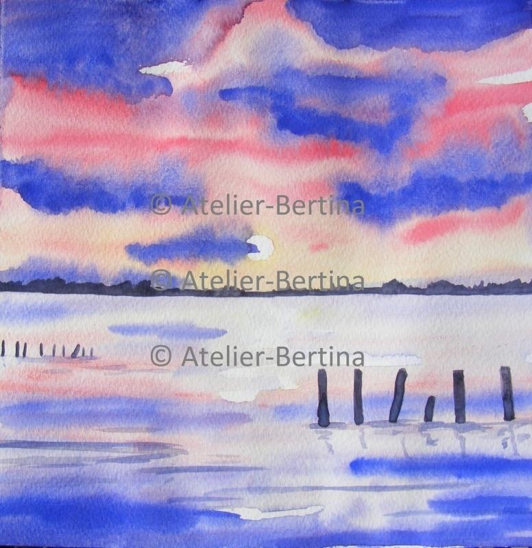 zonsondergang aquarel schilderij