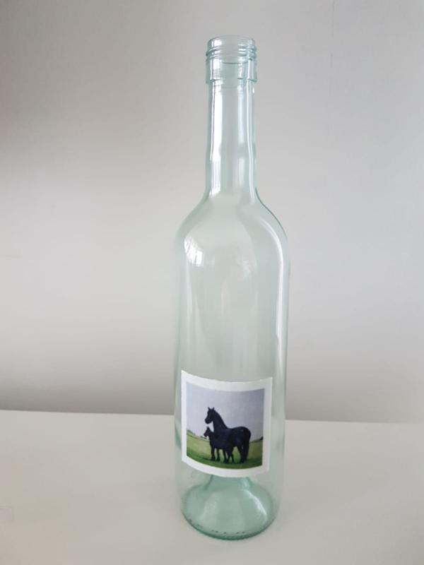 Fles met paarden aquarel : sfeerlicht, nootjes, suikerpot of vaasje.