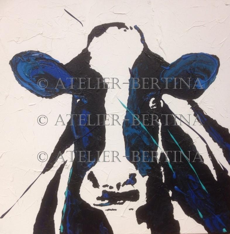 Koe acryl schilderij blauw
