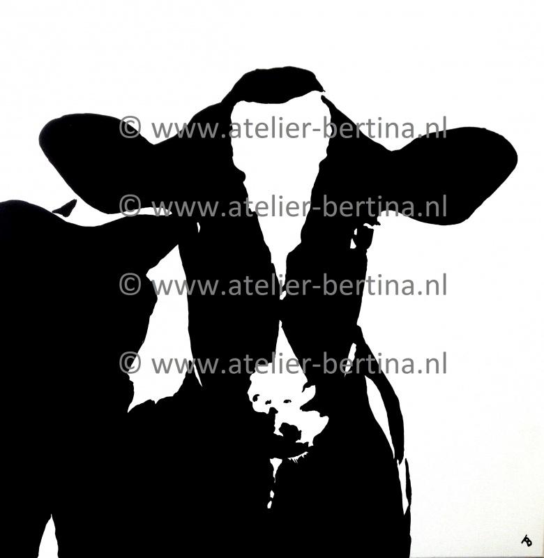 Koe kop acryl schilderij 2013