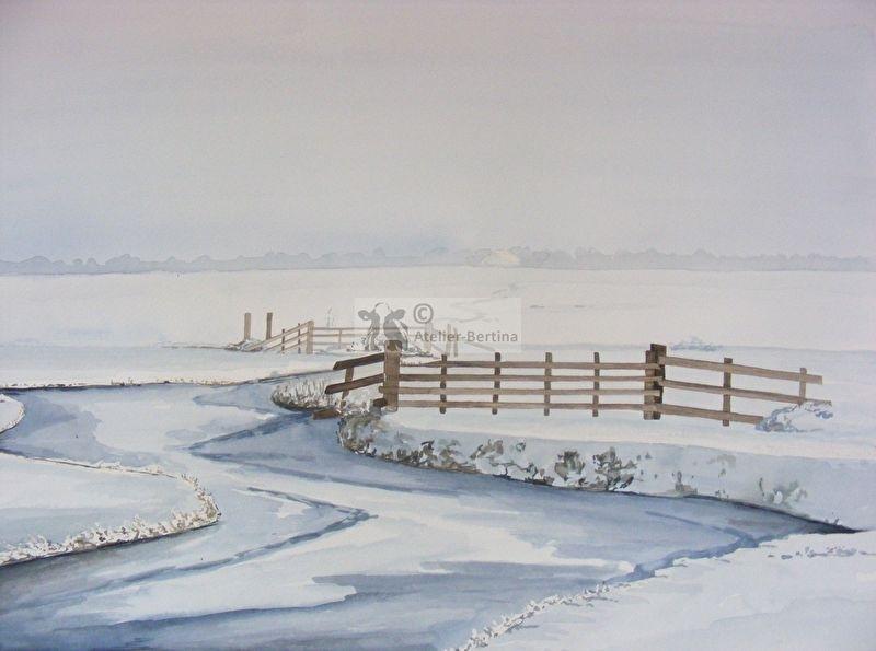 Slootje in de winter aquarel schilderij