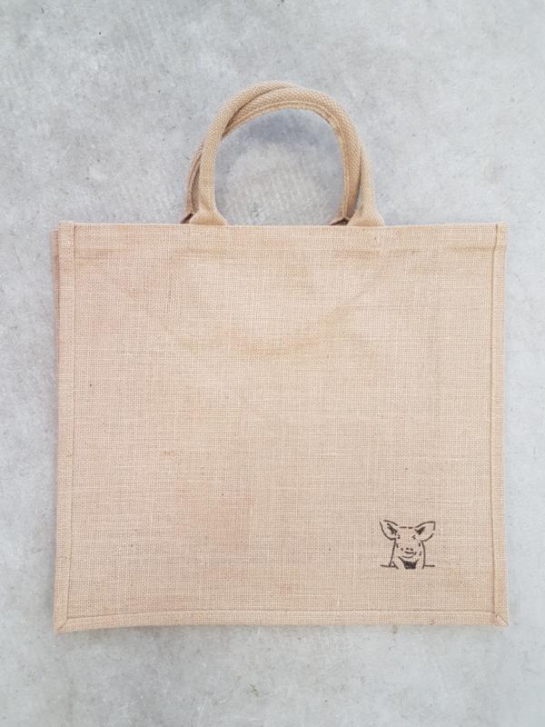 Jute shopper tas met schildering varken