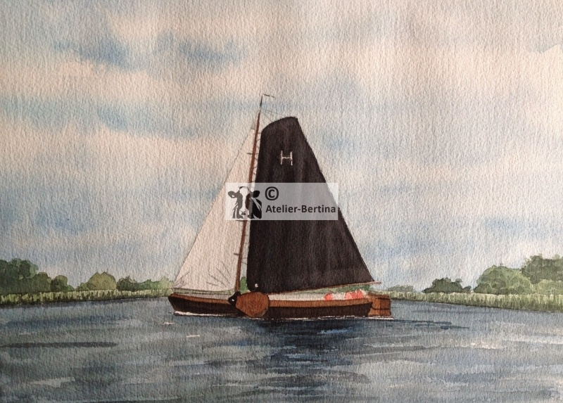 Sailboat watercolor painting