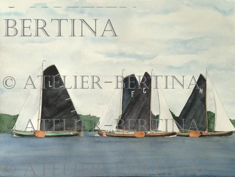 Sailboat watercolor painting