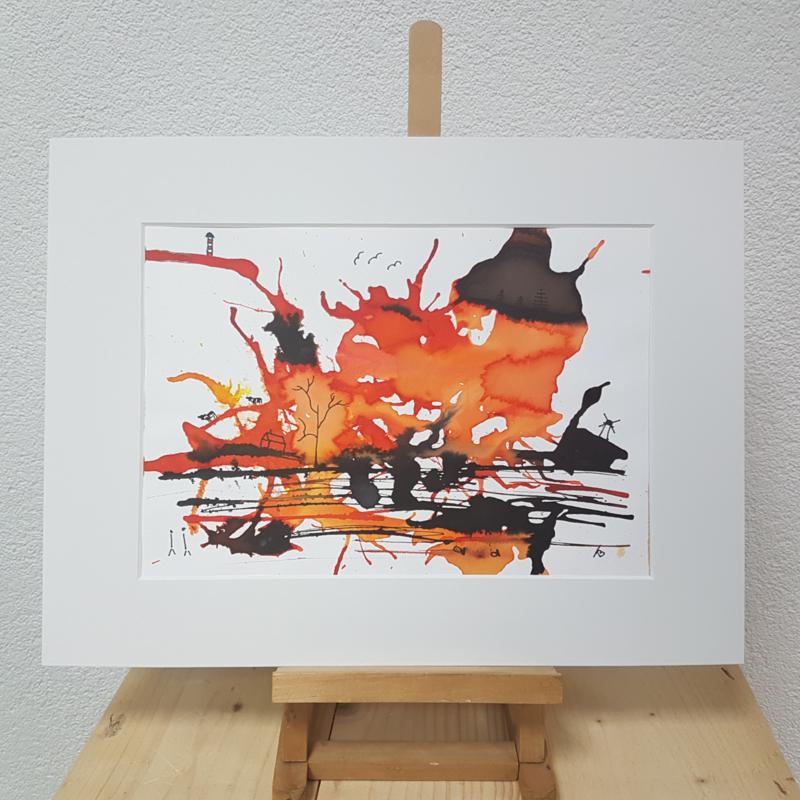Hollands landschap in oranje vlek