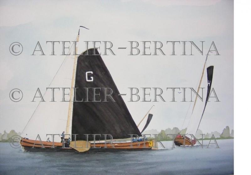 Segelboot-Aquarell Malerei