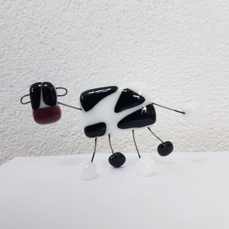 Koe beeld van glasfusion zwart wit