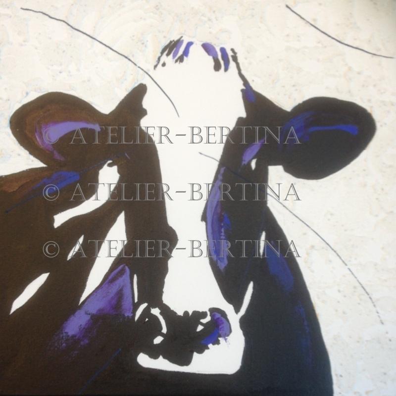 Koe acryl schilderij paars