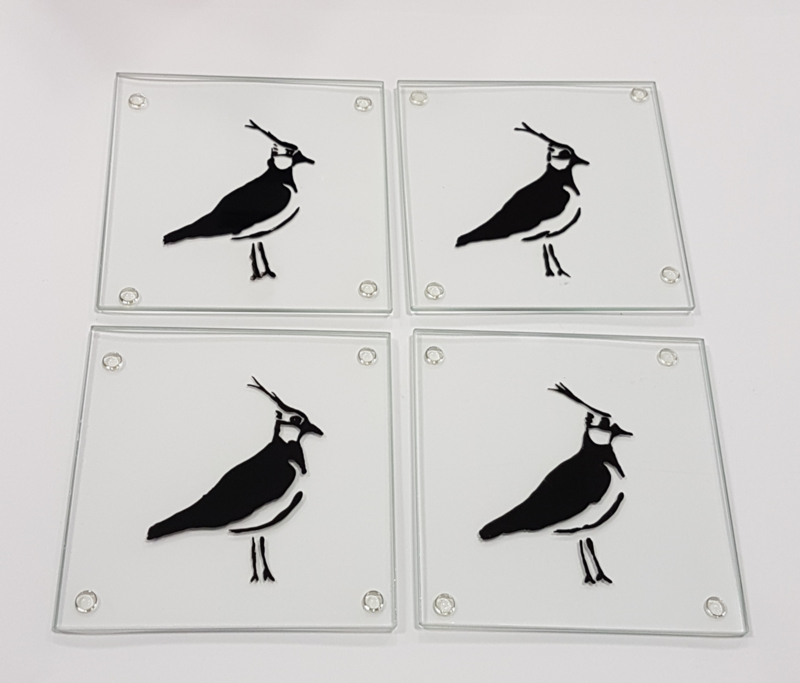 4 x glass coasters lapwing