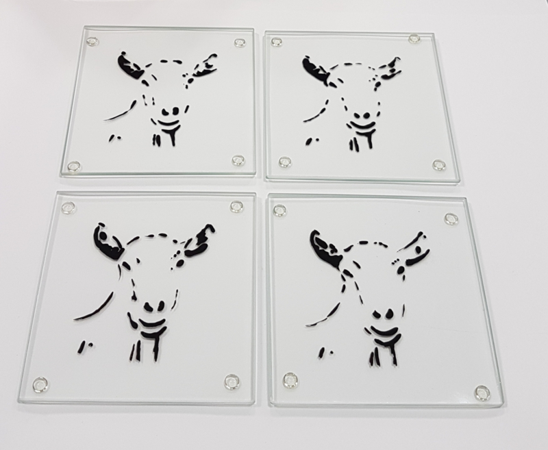 4 x glass coasters goat