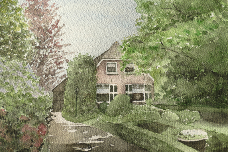 Winter en zomer schilderij van 1 woning.