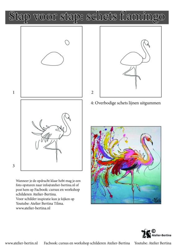Gratis leskaart: stap voor stap schetsen flamingo