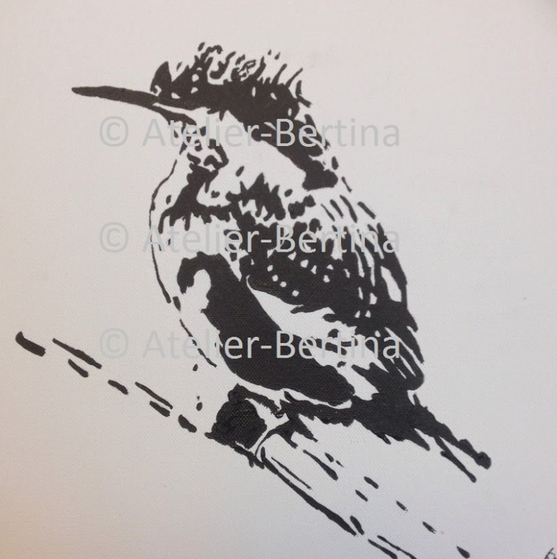 Ijsvogel acryl schilderij op canvas