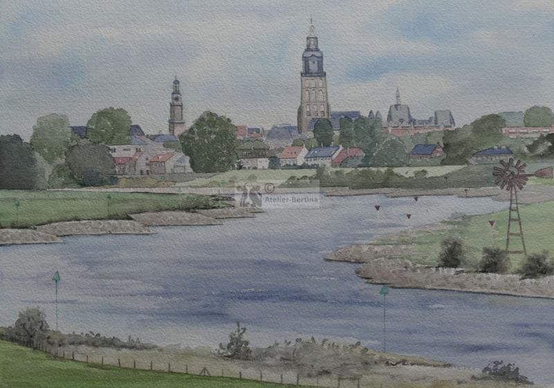 Deventer aquarel schilderij