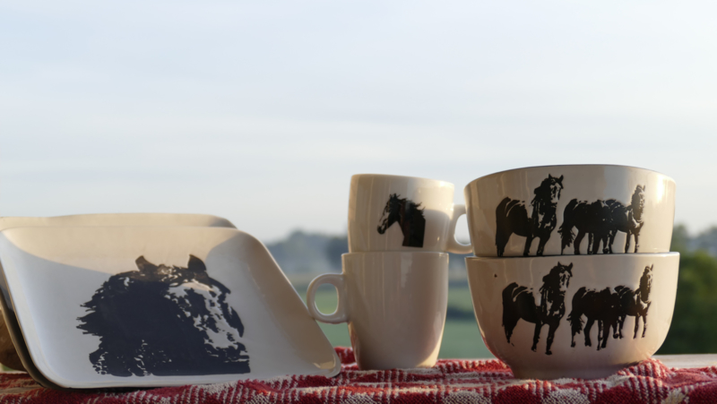 Horse dinnerware set for 2 people