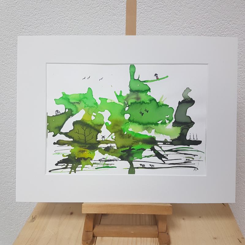 Hollands landschap in groene vlek