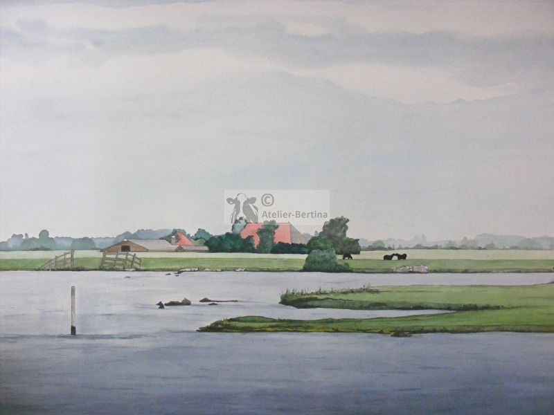 Landscape with farm watercolor painting