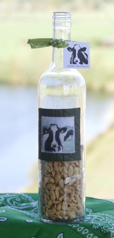 Fles met koe aquarel : sfeerlicht, nootjes, suikerpot of vaasje.