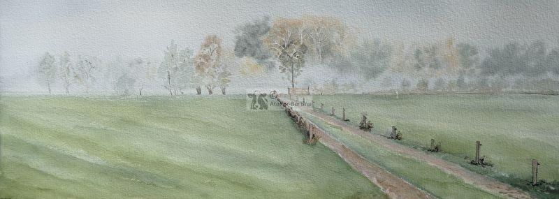 Mist landschap aquarel schilderij