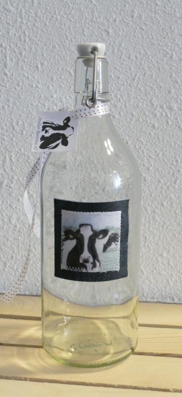 Karaf fles  met koe aquarel : sfeerlicht, nootjes, suikerpot of vaasje.
