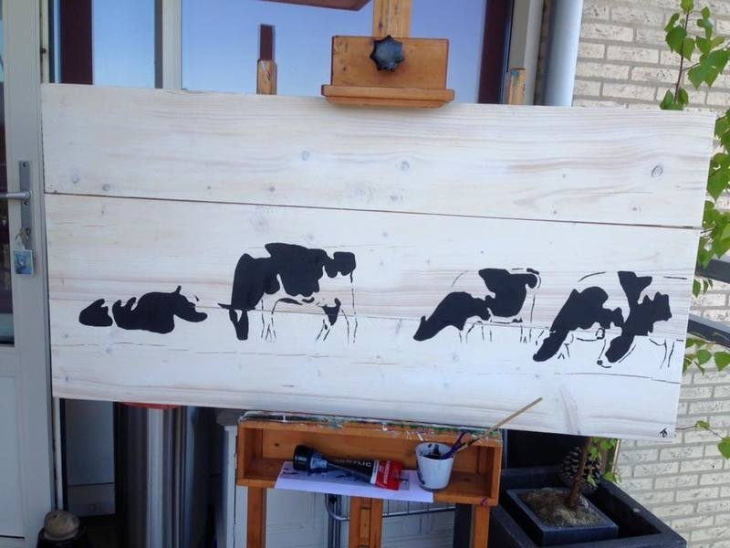 Cow on scaffold wood (indoor and outdoor