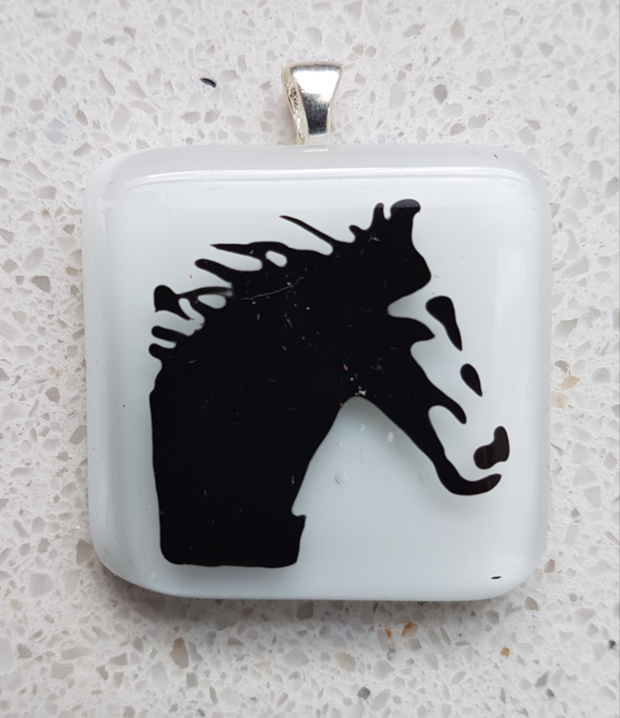 horse glass pendant necklace atelier bertina