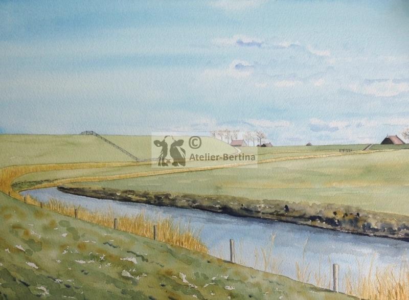 Seawall watercolor painting