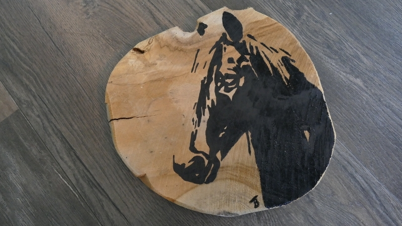 Teak wooden disk painted with horse