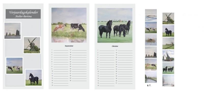 Aquarel verjaardagskalender (koeien, paarden, landschappen)