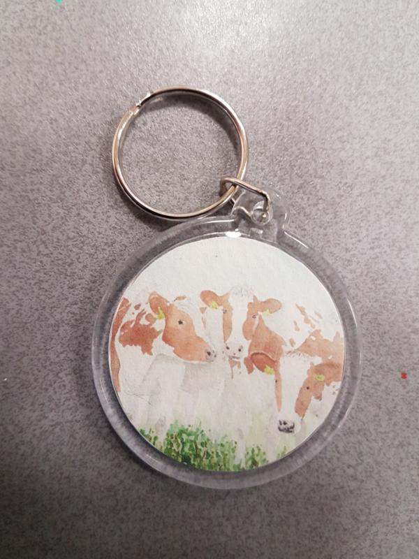 sleutelhanger koe roodbont (rond)