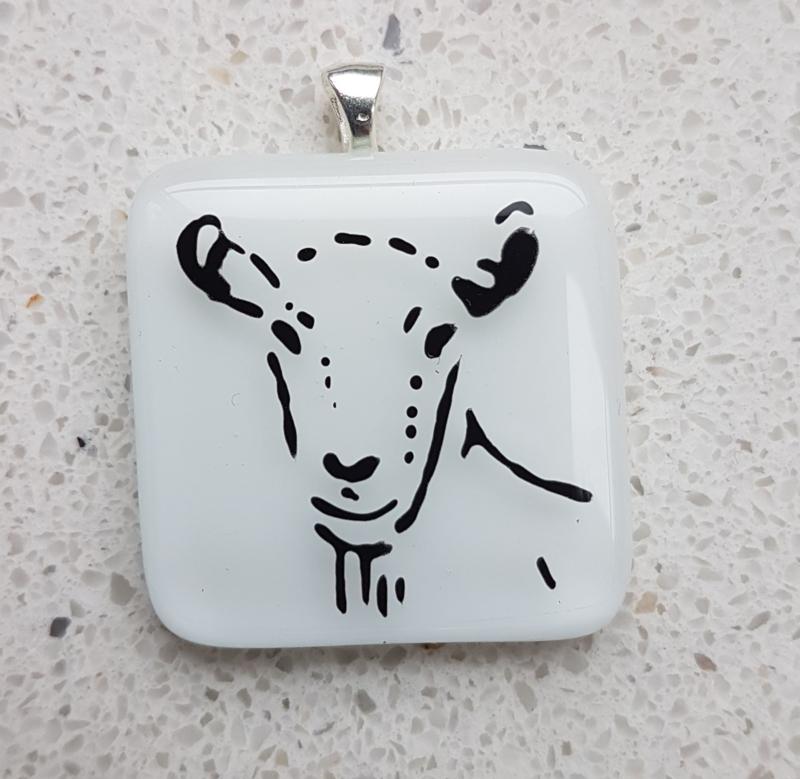 Goat glass pendant necklace atelier bertina