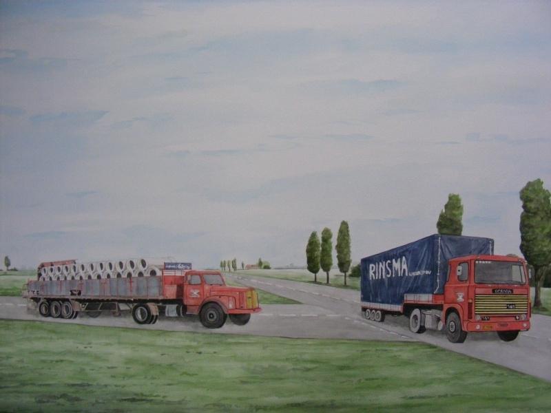 Opdracht: Vrachtauto  aquarel schilderij