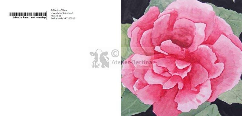 Dubbele roos wenskaart