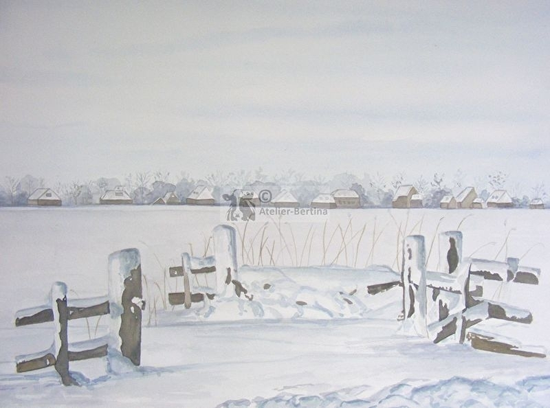 Hek in de winter aquarel schilderij