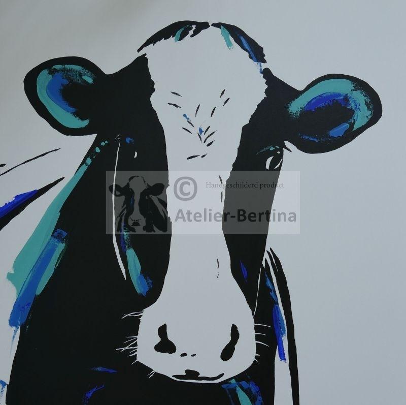 Koe blauw acryl schilderij